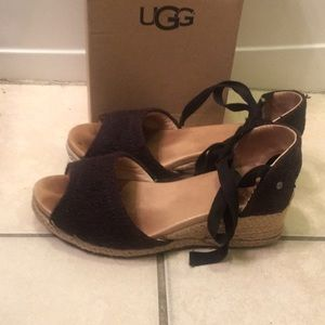 UGG Shoes - UGG Australia Black open toe espadrille wedges